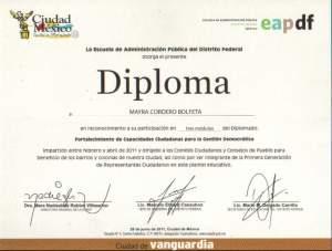Dimploma curso Gestión democrática.