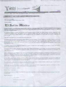 Tirar cascajo es delito, El Sol de México